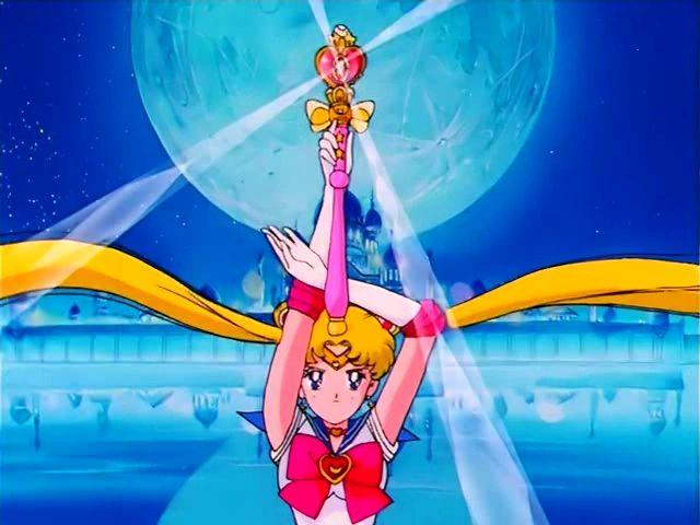 Sailor Moon (Usagi Tsukino) using her Spiral Heart Moon Rod
